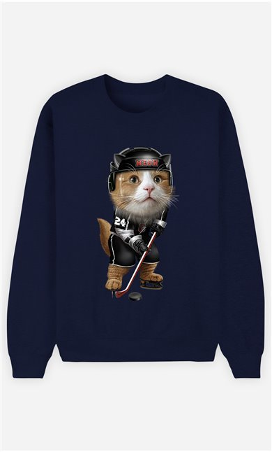 Sweat Bleu Femme Team hockey cat