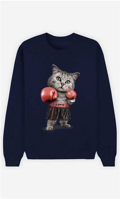 Sweat Bleu Homme Boxing cat