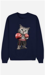 Sweat Bleu Homme Boxing cat