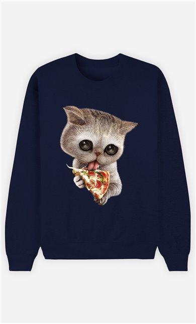 Sweat Bleu Homme Cat loves pizza