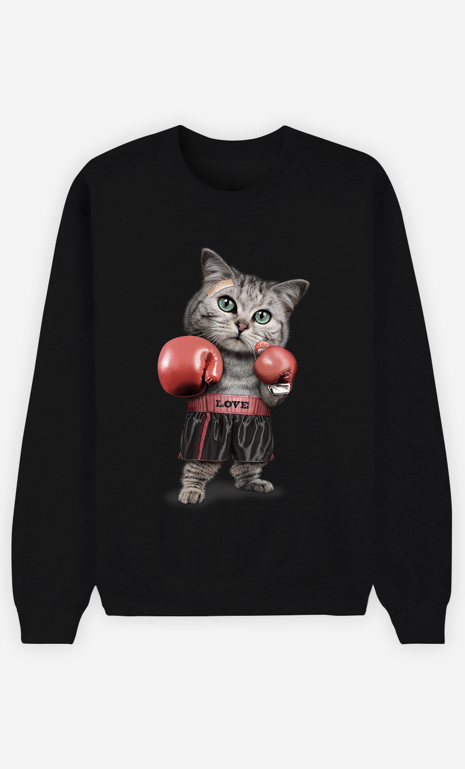 Sweat Noir Homme Boxing cat