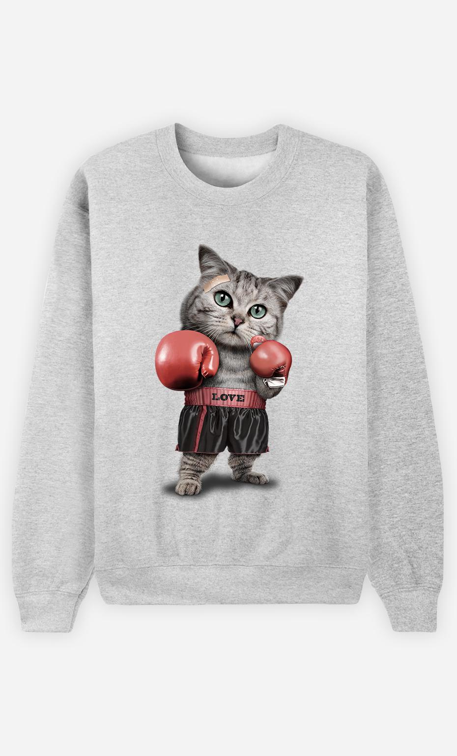 Sweat Gris Homme Boxing cat