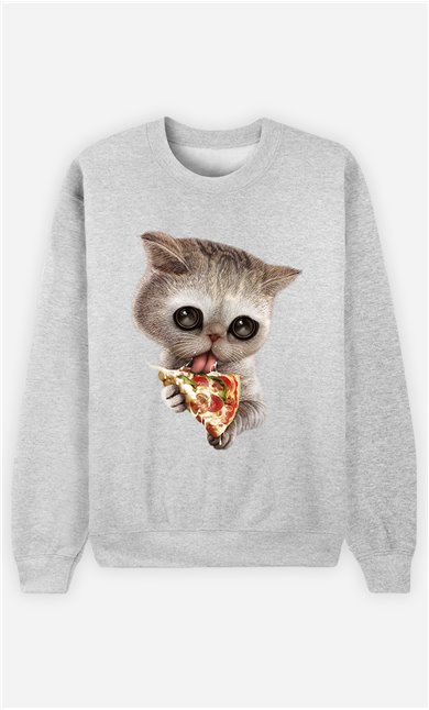 Sweat Gris Homme Cat loves pizza