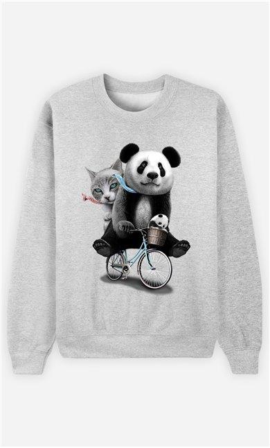 Sweat Gris Homme Panda bicycle