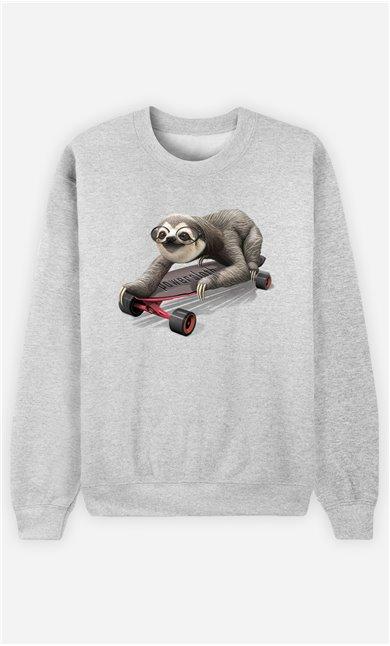 Sweat Gris Homme Skateboard sloth