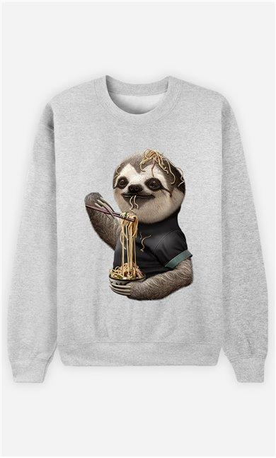Sweat Gris Homme Sloth loves noodles