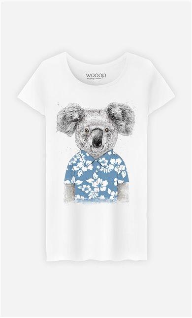 T-Shirt Femme Summer Koala Blue