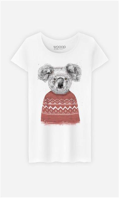 T-Shirt Femme Winter Koala Red
