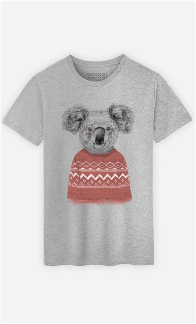 T-Shirt Homme Winter Koala Red