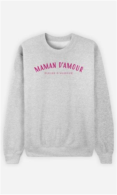 Sweatshirt Femme Maman d'amour pleine d'humour