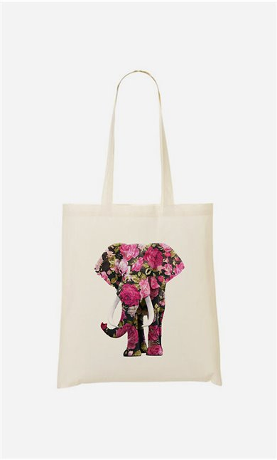 Tote bag Floral Elephant