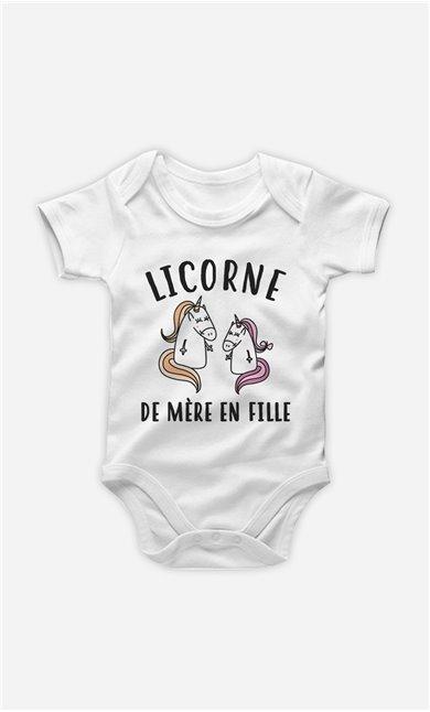 Body Bébé Licorne De Mère En Fille