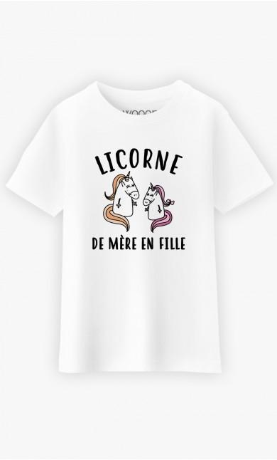 T-Shirt Enfant Licorne De Mère En Fille