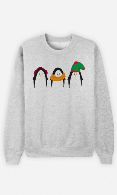 Sweatshirt Femme Manchots au chaud