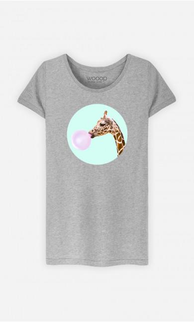 T-Shirt Femme Giraffe Bubble Gum