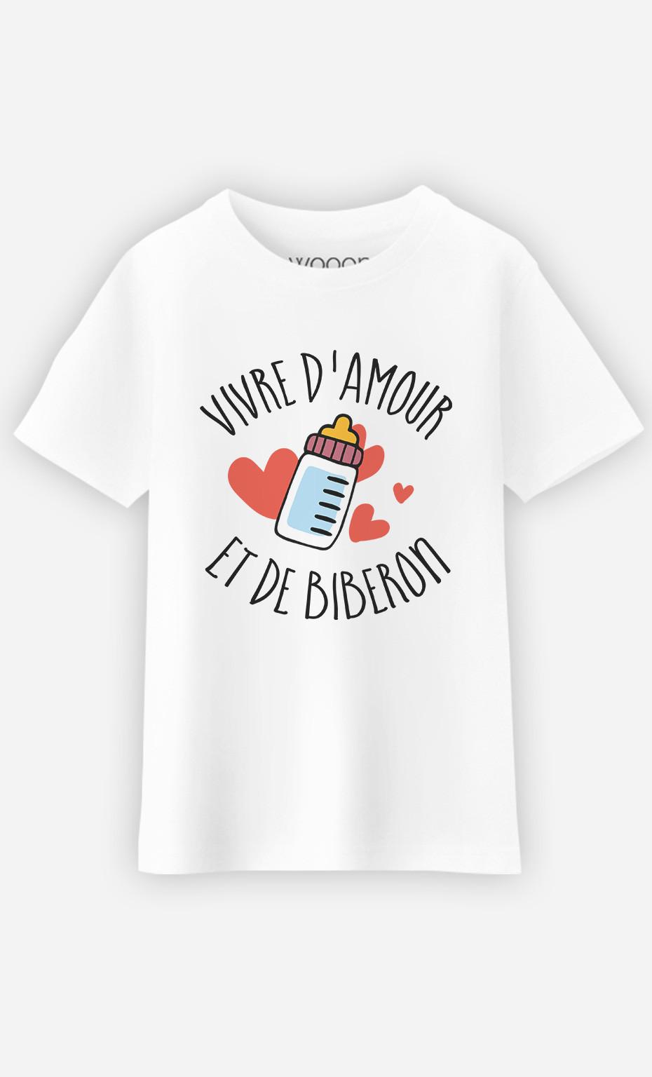T-Shirt Enfant Vivre D'amour Et De Biberon