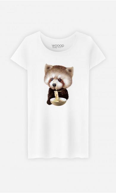 T-Shirt Femme Red Panda Loves Noodles