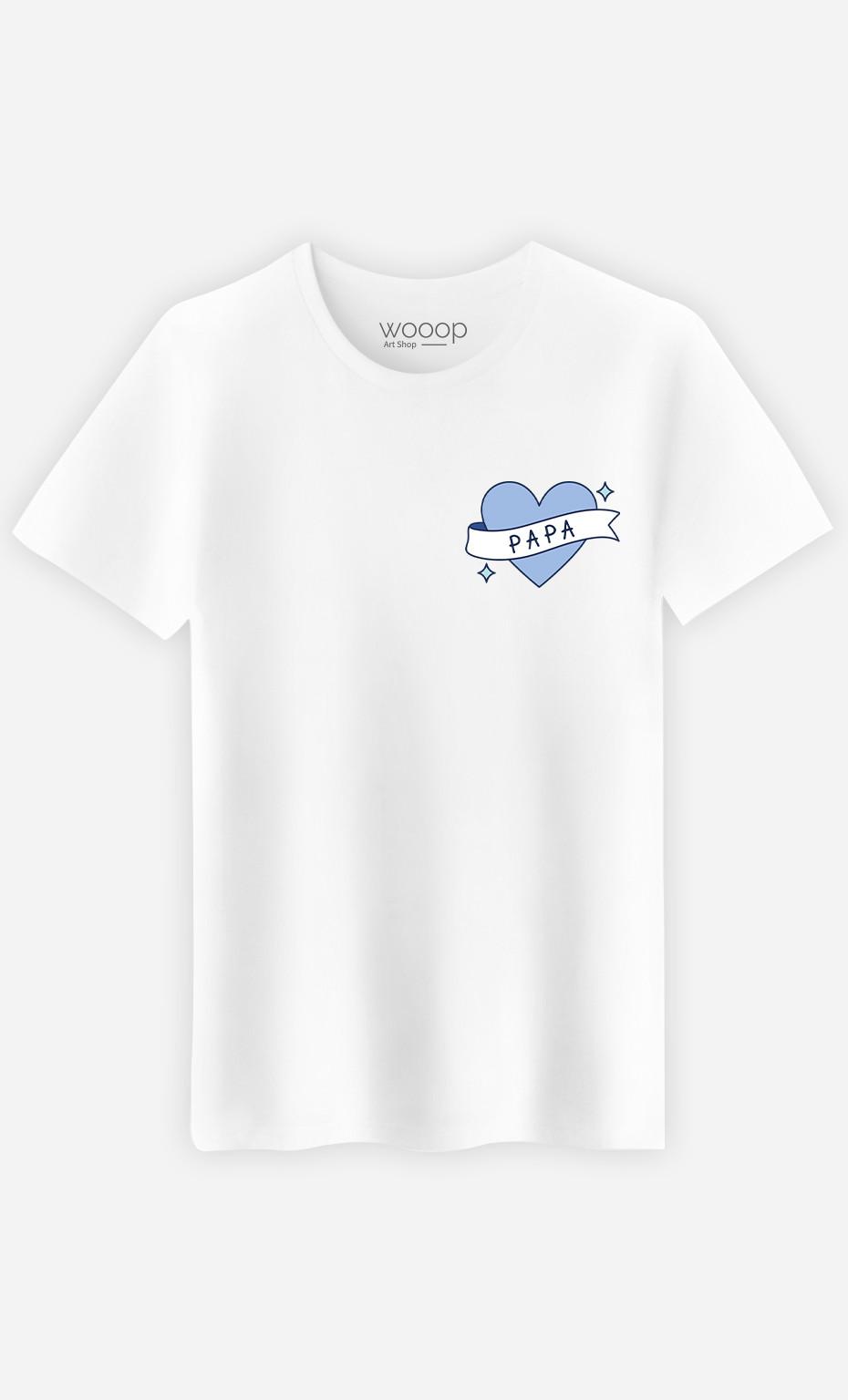 T-Shirt Homme Papa Cœur Ruban