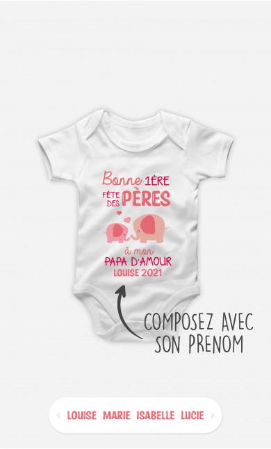 Body Bébé Bonne Fête Des Pères Éléphant Rose à personnaliser