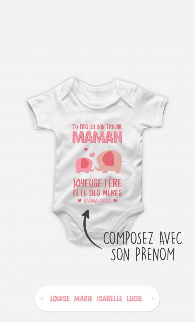Body Bébé Tu Fais Du Bon Travail Maman Éléphant Rose à personnaliser