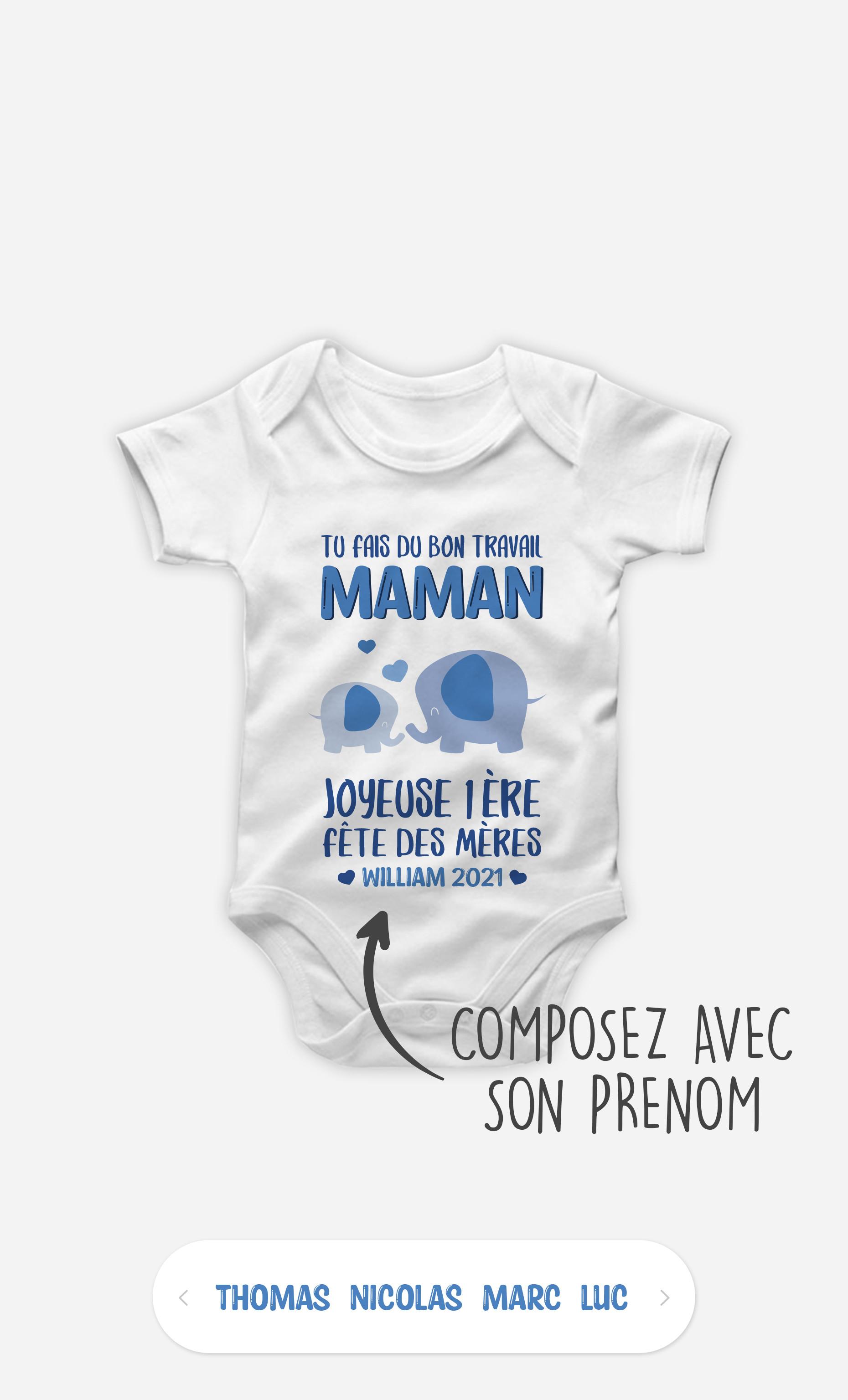 Body Bébé Tu Fais Du Bon Travail Maman Éléphant Bleu à personnaliser