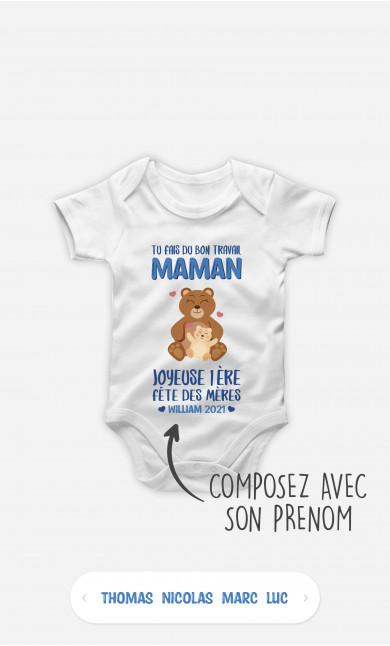 Body Bébé Tu Fais Du Bon Travail Maman Ours Bleu à personnaliser