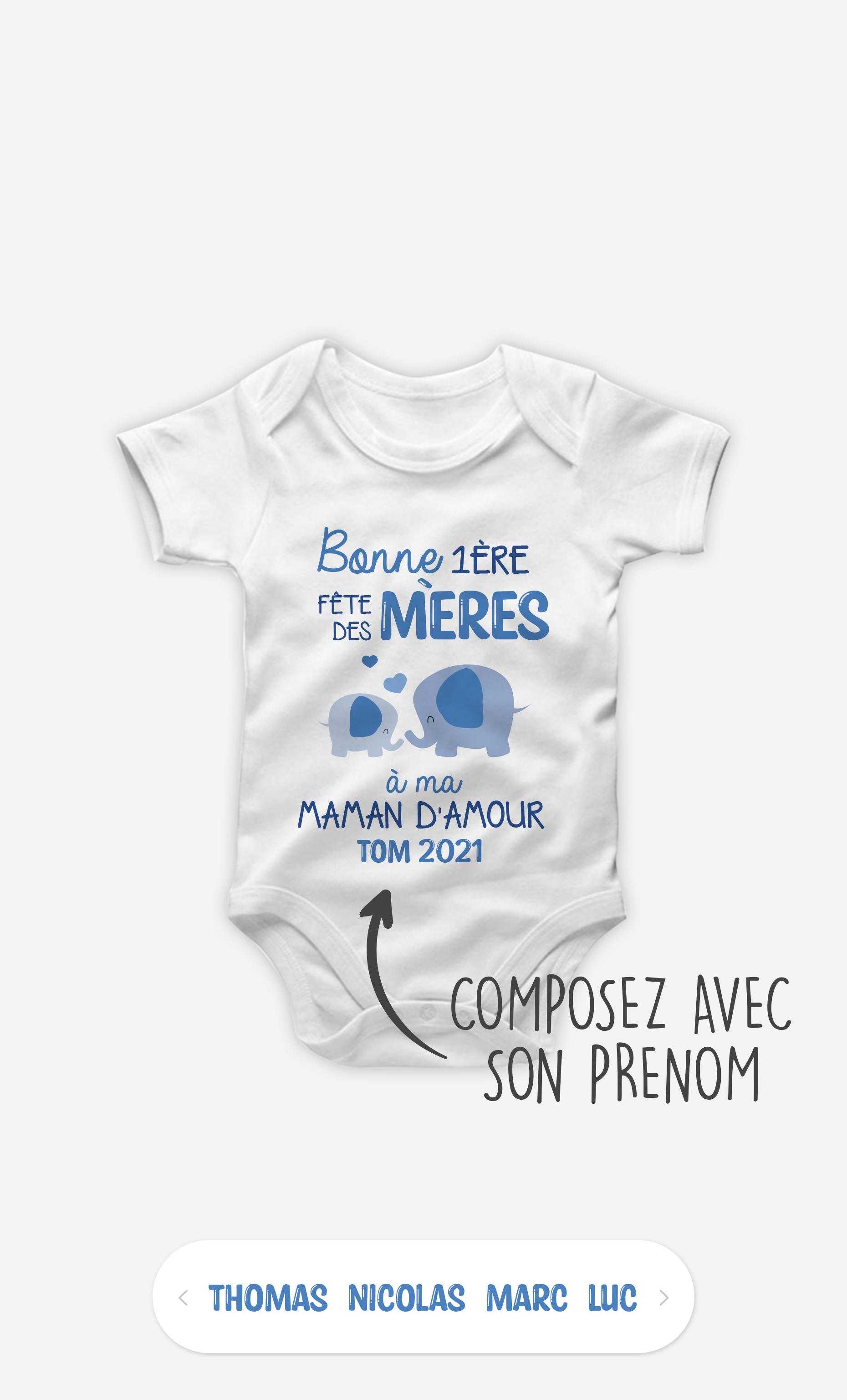 Body Bébé Bonne Fête Des Mères Éléphant Bleu à personnaliser