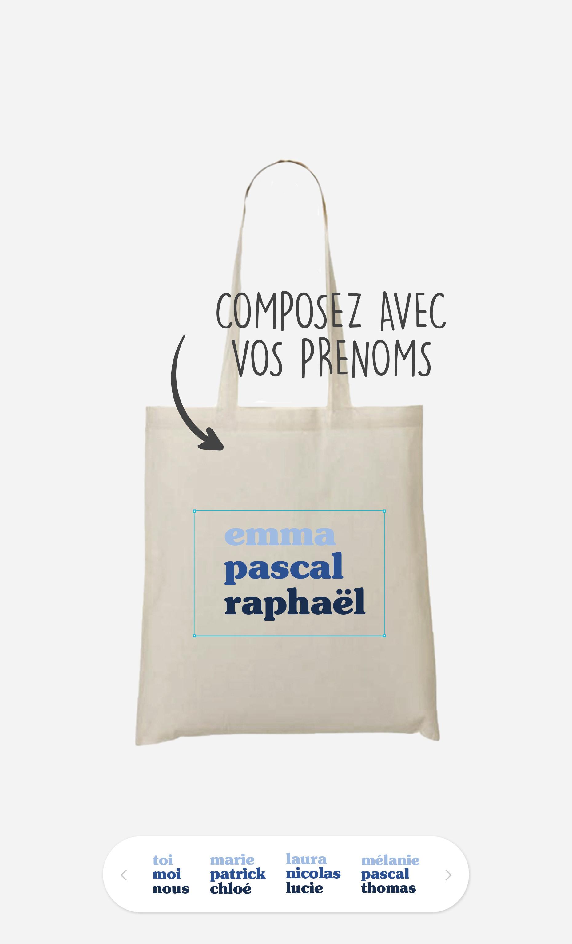 Tote Bag 3 Prénoms à personnaliser