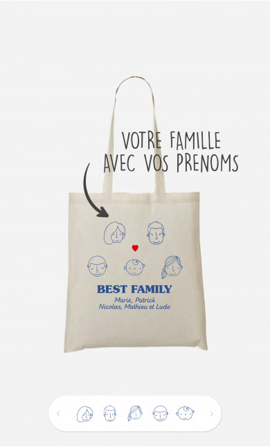 Tote Bag Best Family Visages à personnaliser