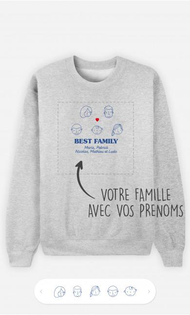 Sweatshirt Homme Best Family Visages à personnaliser