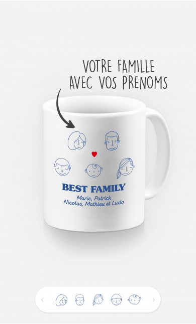 Mug Best Family Visages à personnaliser
