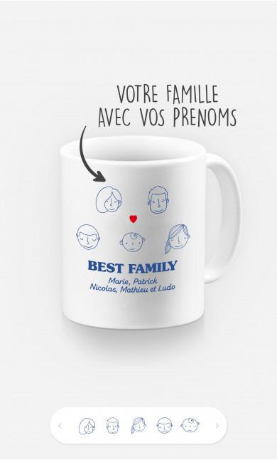 Mug Best Family Visages à personnaliser
