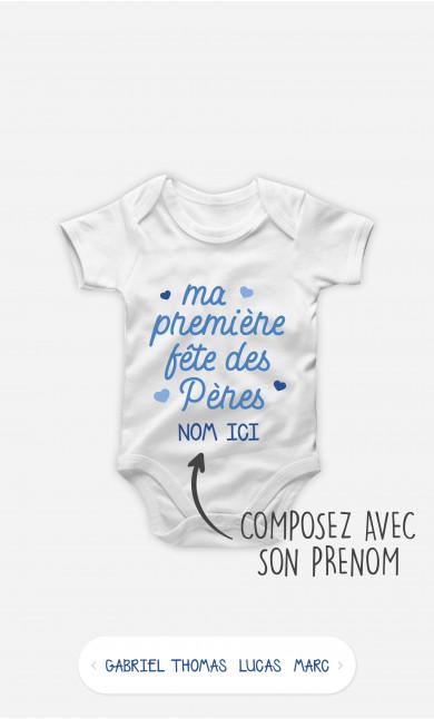 Body Bébé Première Fête des Pères Bleu à personnaliser