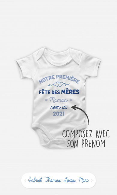 Body Bébé Notre Première Fête des Mères Bleu à personnaliser