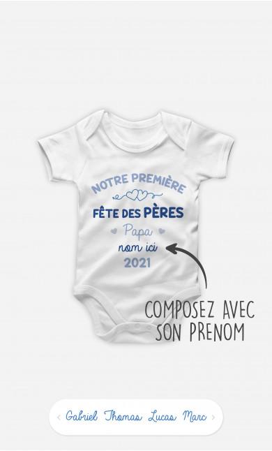 Body Bébé Notre Première Fête des Pères Bleu à personnaliser