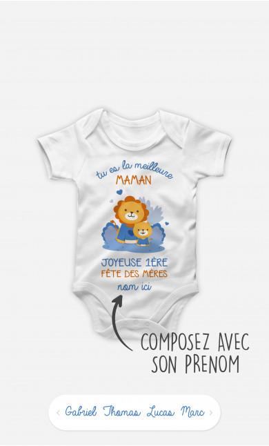 Body Bébé Bonne Fête des Mères Lion Bleu à personnaliser