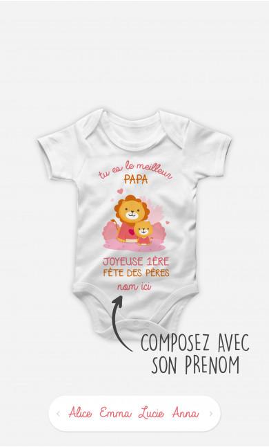 Body Bébé Bonne Fête des Pères Lion Rose à personnaliser