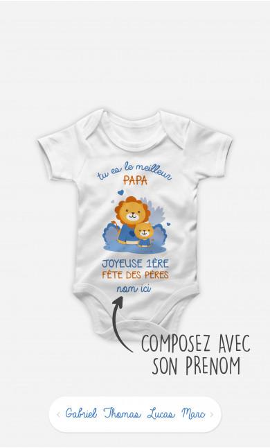 Body Bébé Bonne Fête des Pères Lion Bleu à personnaliser