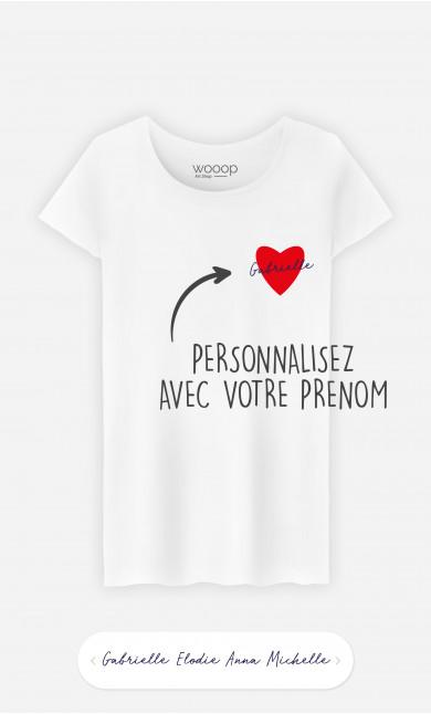T-Shirt Femme Cœur Rouge à personnaliser