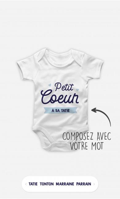 Body Bébé Petit Cœur Bleu à personnaliser