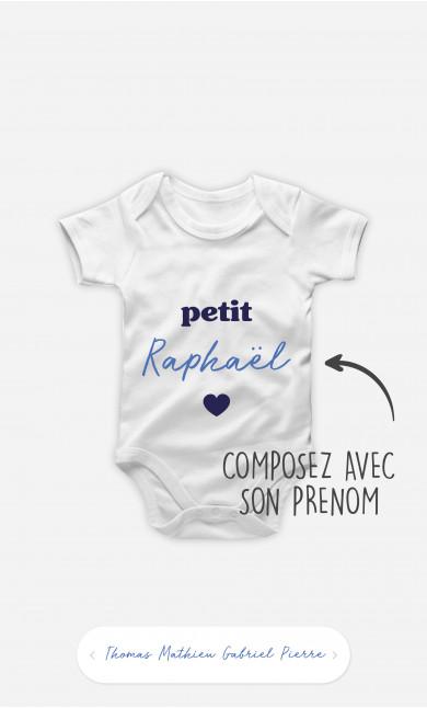 Body Bébé Petit Cœur Prénom Bleu à personnaliser
