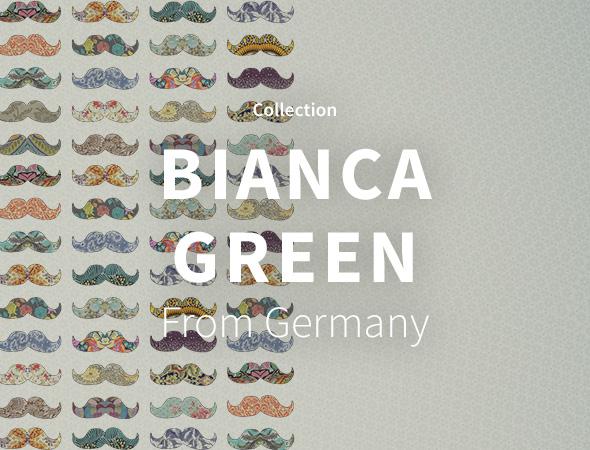 Des moustaches, des pyramides, des motifs, voici ce qu'il y a dans cette collection de Bianca Green sur l'artshop Wooop